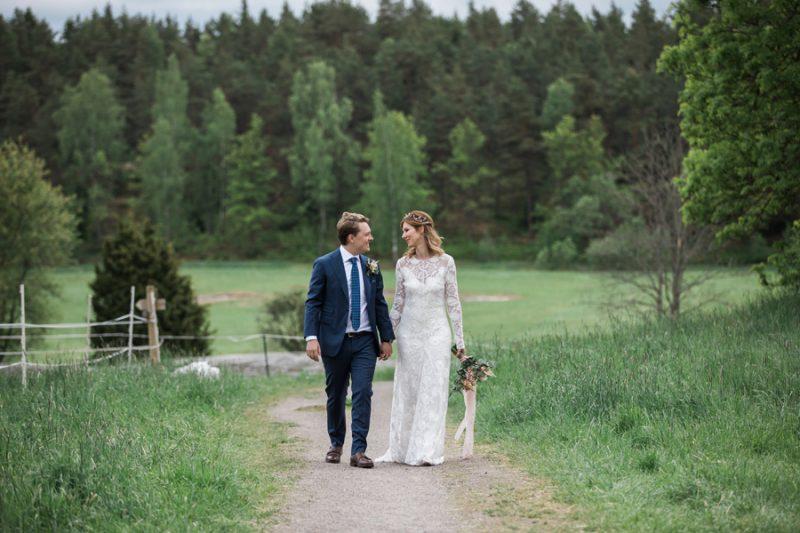 Brudpar, lantligt bröllop