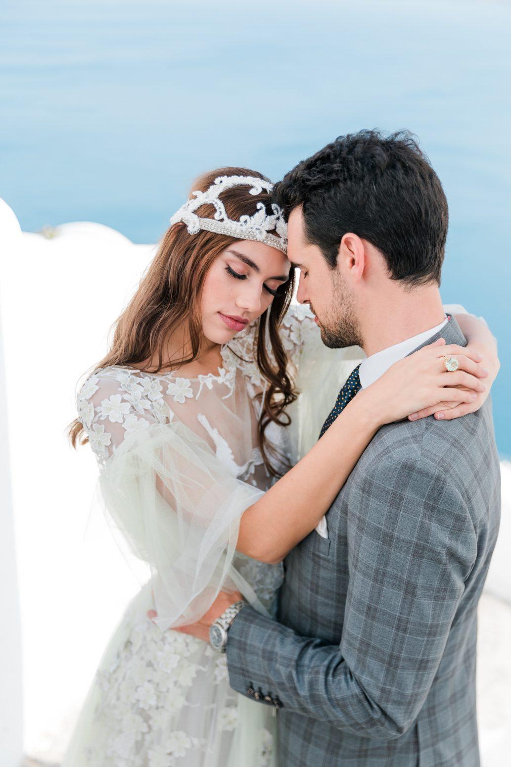 Brudklänning, bröllop Santorini